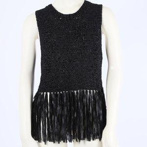 A.L.C. Black Sleeveless Knit Fringe Tassels Top
